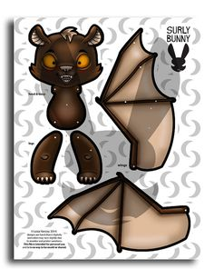 Jointed Bat Paper Doll Instant Download by SurlyBunny on Etsy