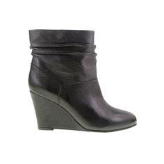 U Bet Leather Wedge Bootie Black