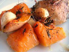 Herkkusuun lautasella-Ruokablogi: Paahdettua myskikurpitsaa ja kanaa