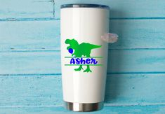 Excited to share this item from my #etsy shop: Name Decal, Dinosaur, TREX Decal, Boys Cup, Tumbler Decal, Birthday Party, Girls Cup. Birthday Cup, Birthday Treats, Birthday Parties, Girls Cup, Yeti Cup, Personalised Box, Red Bull, Tumbler, Picture Frames
