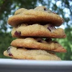 I make a basic chocolate chip cookie dough, but use white chocolate chips, dried cranberries, and brandy (instead of vanilla). Great for Christmas time!