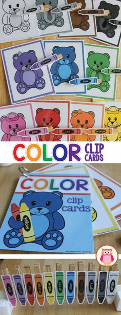 fine motor practice and color matching activity for your bear themed preschool or pre-k unit.  Attach crayon printable to a clothespin clip.   A great color and fine motor activity for preschool, pre-k, tot school, busy bags, early childhood education.  https://www.teacherspayteachers.com/Product/Color-Matching-Bears-Bear-Color-Match-Clip-Cards-for-Preschool-and-ECE-2032614