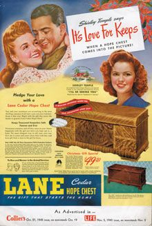 She got hers when she was engaged and Dad was serving in WWII . Not sure if it is a Lane Cedar Hope Chest Lane Furniture, Art Deco Furniture, Furniture Ads, Vintage Furniture, Vintage Advertisements, Vintage Ads, Vintage Posters, Impossible Dream, Sound Of Music