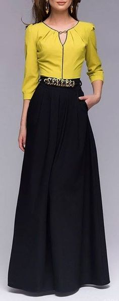 saia longa preta + blusa amarela