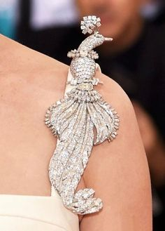 Peacock Brooch (Cartier, 1948), worn by Uma Thurman at the Met's Costume Institute Gala