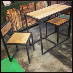 Industrial Style Wood And Metal Small Nesting Table With 2 Chairs Unique  Furniture Interiors Interior Design. Fayetteville ArkansasExtra ...