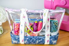 Sew a See-Through Bag - Free Fabric and Vinyl Tote Sewing Pattern — SewCanShe Bag Patterns To Sew, Sewing Patterns Free, Free Sewing, Sewing Tutorials, Sewing Projects, Tutorial Sewing, Sewing Ideas, Sewing Designs, Wallet Tutorial