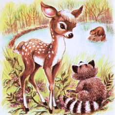"Little Raccoon Illustration by Tiny Muffins, via Flickr and also ""Little Deer"" book if I am not mistaken."