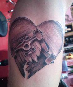 skateboard heart tattoo