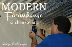 """Modern Farmhouse Kitchen Ceiling - We had to come up with ways to remodel our entire kitchen on a tight budget. Our new """"old"""" home is a 100 year old Craftsman. Kitchen Soffit, Galley Kitchen Remodel, Dark Kitchen Cabinets, Kitchen Remodeling, Open Cabinets, Remodeling Ideas, Fixer Upper, Home Decor Kitchen, Kitchen Design"""