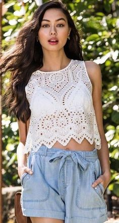 #summer #lovely #fashion |  White Eyelet Top + Denim Shorts