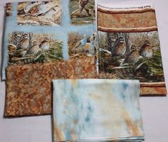Quilting Fabric Set Quail Run by Carolyn Mock Panels Border Sky Leaves Quilt Kit #SouthSeaImports