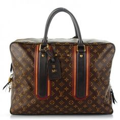 This is an authentic LOUIS VUITTON Monogram Bequia Porte Document Geant. This very stylish tote is crafted of traditional Louis Vuitton monogram on toile canvas.