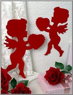 St. Valentine's Day Silhouettes Set of 6 ~ Made in America Do you remember these charming love cupids? Popular Valentine decorations that were first made in the 1920's, our cupid cutouts are still mad