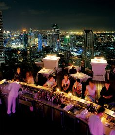 There are lots of very tall hotels in Bangkok with roof top bars that have PHENOMENAL views of the entire city. Sky Bar at the Lebua State Tower is the most popular and a must-visit (it was made even more famous by the movie Hangover Sky Bar Bangkok, Bangkok Hotel, Bangkok Thailand, Thailand Travel, Asia Travel, Samui Thailand, Koh Samui, Rooftop Restaurant, Rooftop Bar