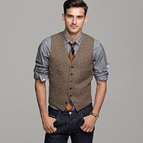 love the rolled up sleeves and suit vest....could go formal or put with jeans for a less formal look