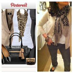 beige blazer + white tshirt + leopard scarf + dark skinies + flats    Pinterest Told Me To