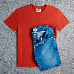 Topman Ltd orange tee and denim shorts