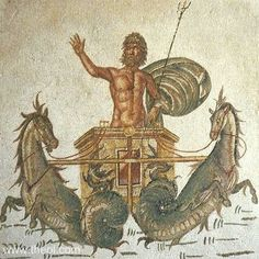 Ancient Greek & Roman Mosaic: Chariot of Poseidon Museum Collection: Bardo Museum, Tunis, Tunisia Period: Imperial Roman SUMMARY Poseidon (Roman Neptune) with trident in hand, drives a chariot drawn by two Hippokampoi (fish-tailed horses) across the sea. Ancient Rome, Ancient Greece, Ancient History, Classical Mythology, Classical Art, Greek Mythology, Carthage, Roman History, Art History