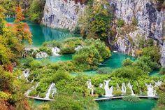 Plitvice Lakes National Park Photos Scenic autumn landscape with numerous waterfalls, cascades and lakes by Artur Bogacki