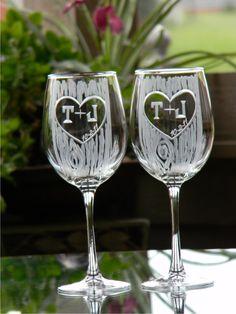Anniversary or Engagement Carved Tree Trunk Wine Glasses with Heart and Initials. $50.00, via Etsy.