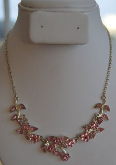 On Sale Pretty Vintage Pink Crystal Necklace Silver by Beadazzle27