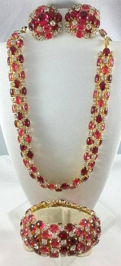 Gorgeous Signed Schreiner Red and Pink Rhinestone Parure