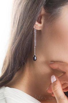 SUMMER SALE Black Onyx Earrings Gold Threader Earrings Gold