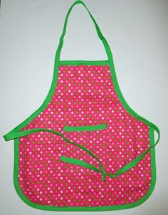 #Polka #Dot #Toddler #Apron, Polka Dot toddler apron, Pink and green polka dot apron 16 in. long X 15 in. wide 1 pocket  green trim & ties by beckyspillowshop on Etsy