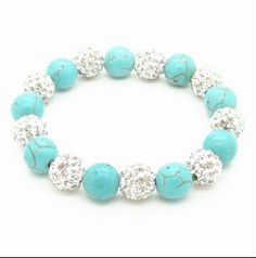 White Crystal Shamballa BraceletTurquoise Bead Bracelet by Youchic, $13.00