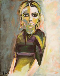 Original Portrait Painting Watercolor Acrylic by RikkiSneddonArt, $700.00 #Available #Art #Artwork #Portrait #Texture