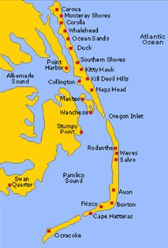 Map of Outer Banks   Core Banks, Shakleford Banks, Crystal Coast