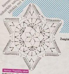 Crochet Snowflake Pattern, Crochet Motif Patterns, Crochet Stars, Crochet Snowflakes, Crochet Diagram, Crochet Designs, Crochet Doilies, Crochet Flowers, Thread Crochet