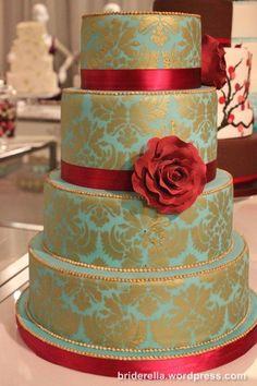 White cake, silver damask, tea flower/ribbon.