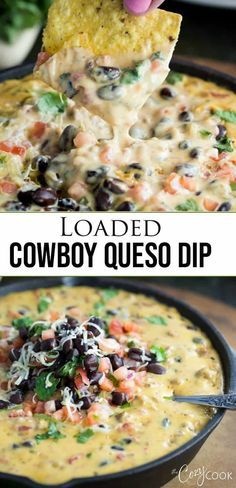 This simple easy Loaded Homemade Queso Dip is loaded with melted Velveeta pepper jack cheese beef pale ale Rotel tomatoes black beans and fresh cilantro. It's a Cowboy's dream! Appetizer Recipes, Snack Recipes, Meat Appetizers, Simple Appetizers, Easy Fingerfood Recipes, Easy Dip Recipes, Dinner Recipes, Mexican Appetizers, Delicious Appetizers