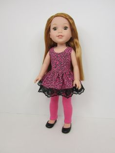 14.5 inch doll clothes - Pink and black animal print top with black lace and pink leggings by JazzyDollDuds.