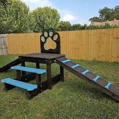 """Kayak Storage Pallets Rand New dog playscape. Can be disassembled in 20 minutes to fit on a pickup truck. Paw design is perfect for taking photos of your dog or puppy. Look for us on FB """"Puppy Scapes"""". Dog Friendly Backyard, Dog Backyard, Medium Dog Kennel, Dog Kennel End Table, Puppy Playground, Playground Design, Playground Ideas, Dog Playpen, Dog Kennels"""