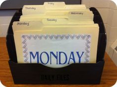 Classroom organization tips - my CT uses these folders to compile worksheets, lesson plans, and books she will be using each day