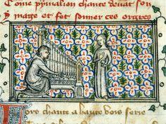 """Pigmalione tenta di compiacere la sua statua suonando per lei"""", miniatura tratta dal 'Roman de la Rose' (1380 circa), British Library, Londra."""