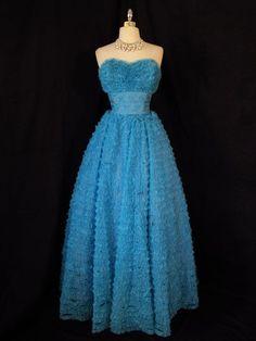 Vtg 50s Chiffon Party Dress