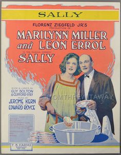 1921 SALLY Sheet Music KERN & GREY Theater MARILYN MILLER Leon Errol