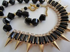 Haute Chic necklace spikes black crystal gold by CarinaCalifornia