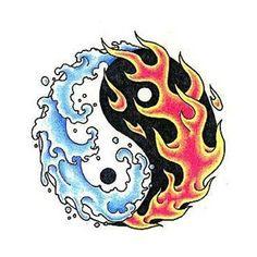 Fire and Ice/Water sample Yin En Yang, Yin Yang Art, Yin Yang Tattoos, Future Tattoos, Love Tattoos, Tatoos, Berserker Tattoo, Ice Tattoo, Fire Drawing