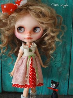 "Blythe doll outfit *Hello ladybugs"" cotton dress"