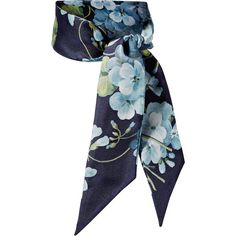 Gucci Floral-print silk-twill scarf ($145) ❤ liked on Polyvore featuring accessories, scarves, gucci, blue, gucci shawl, blue scarves, floral print scarves and colorful scarves