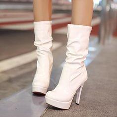 รองเท้าผู้หญิงส้นเท้ารอบกริชกลางรองเท้าลูกวัวสีมากขึ้นใช้ได้ – USD $ 37.99