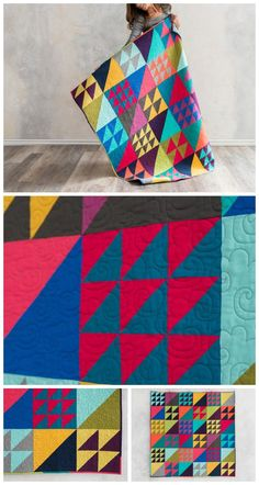 Flock Together Solids Modern Brights Expand-A-Quilt Kitby Craftsy featuring Boundless Solids. Make this entire quilt top with just one fat quarter bundle! Flock Together is the perfect project for quilters who love half-square triangles. The four birds and nine birds blocks are set with half-square triangles, to create a delightful quilt that's full of movement. Modern solids quilt pattern. Affiliate link.