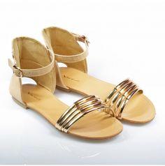 Sandałki złote nude beż X389