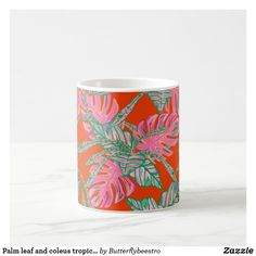 Shop Palm leaf and coleus tropical fire coffee mug created by Butterflybeestro. Tropical Mugs, Tropical Design, Fire And Ice, Bathroom Sets, Coral Pink, Photo Mugs, Create Your Own, Coffee Mugs, Palm