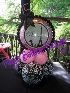 Paris theme party balloon centerpieces